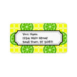 Bright Summer Citrus Limes on Yellow Square Tiles Address Label