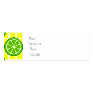 Bright Summer Citrus Limes on Yellow Square Tiles Mini Business Card