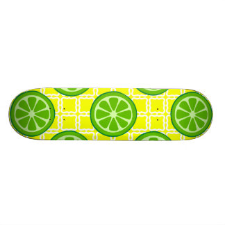 Bright Summer Citrus Limes on Yellow Square Tiles Skateboard Decks
