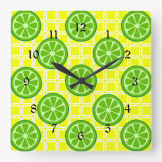 Bright Summer Citrus Limes on Yellow Square Tiles Square Wall Clock