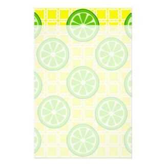 Bright Summer Citrus Limes on Yellow Square Tiles Stationery Paper