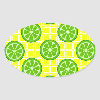 Bright Summer Citrus Limes on Yellow Square Tiles Oval Stickers