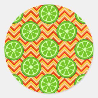 Bright Summer Citrus Limes Orange Yellow Chevron Classic Round Sticker