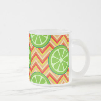 Bright Summer Citrus Limes Orange Yellow Chevron Frosted Glass Coffee Mug
