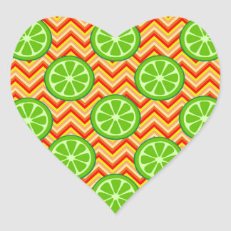 Bright Summer Citrus Limes Orange Yellow Chevron Heart Sticker