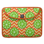 Bright Summer Citrus Limes Orange Yellow Chevron Sleeve For MacBook Pro