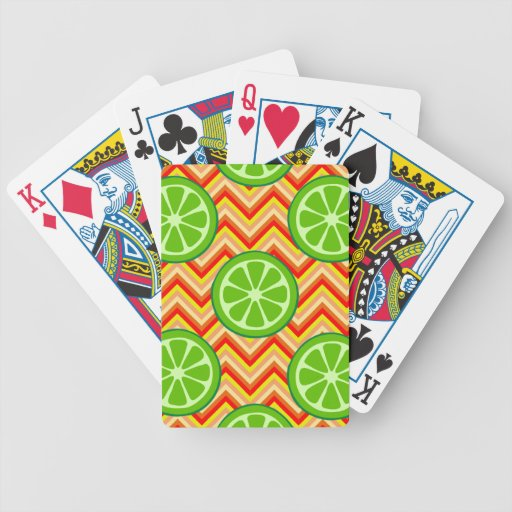 Bright Summer Citrus Limes Orange Yellow Chevron Bicycle Poker Cards