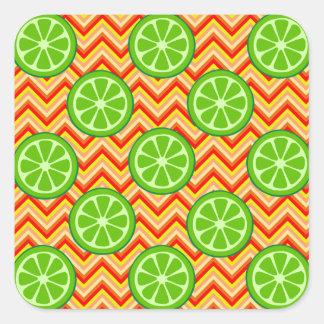 Bright Summer Citrus Limes Orange Yellow Chevron Square Sticker