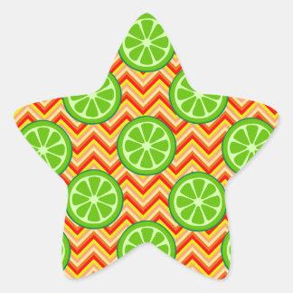 Bright Summer Citrus Limes Orange Yellow Chevron Star Sticker