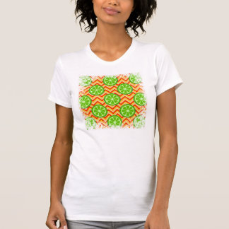 Bright Summer Citrus Limes Orange Yellow Chevron T-Shirt