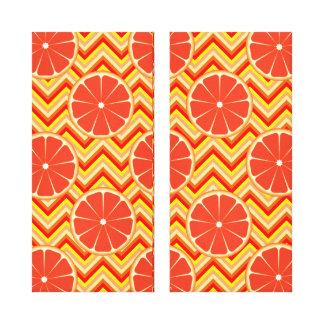 Bright Summer Grapefruit on Orange Yellow Chevron Canvas Print
