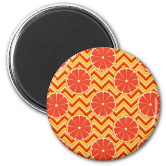 Bright Summer Grapefruit on Orange Yellow Chevron Magnet