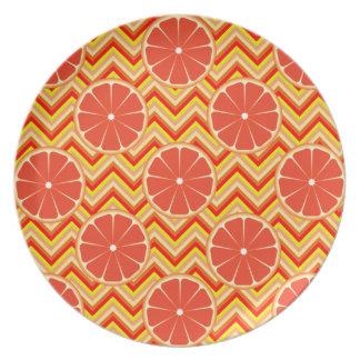Bright Summer Grapefruit on Orange Yellow Chevron Dinner Plates