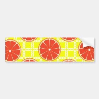 Bright Summer Grapefruits on Lemon Yellow Squares Car Bumper Sticker