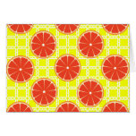Bright Summer Grapefruits on Lemon Yellow Squares Cards