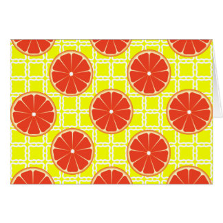 Bright Summer Grapefruits on Lemon Yellow Squares Card