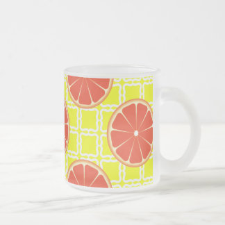 Bright Summer Grapefruits on Lemon Yellow Squares Frosted Glass Coffee Mug