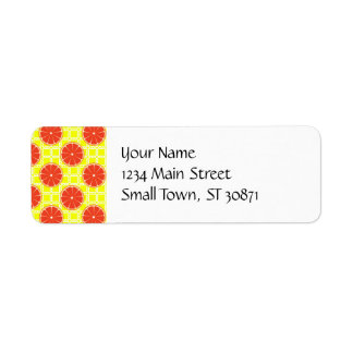 Bright Summer Grapefruits on Lemon Yellow Squares Label