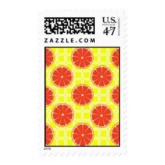 Bright Summer Grapefruits on Lemon Yellow Squares Postage