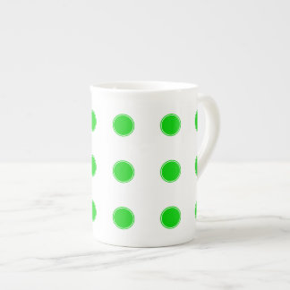 Bright Summer Green Polka Dots on White Tea Cup