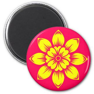 Bright Summer Lemon Yellow Flower on Hot Pink Magnet
