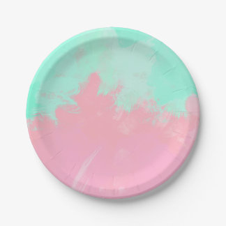 Bright Summer Mint Green Pink Abstract Watercolor Paper Plate