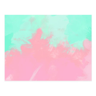 Bright Summer Mint Green Pink Abstract Watercolor Postcard