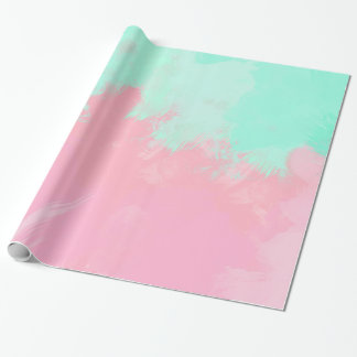 Bright Summer Mint Green Pink Abstract Watercolor Wrapping Paper