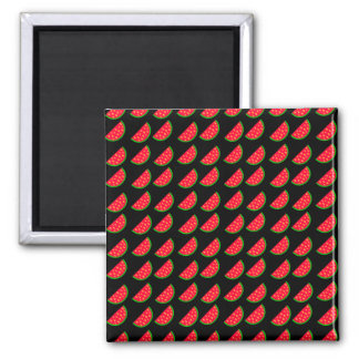 Bright Summer Picnic Watermelons on black backgrou 2 Inch Square Magnet