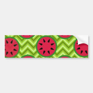 Bright Summer Picnic Watermelons on Green Chevron Bumper Sticker