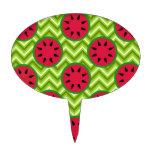 Bright Summer Picnic Watermelons on Green Chevron Cake Pick