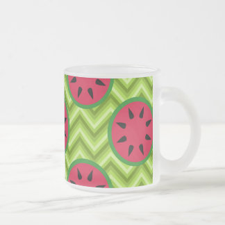 Bright Summer Picnic Watermelons on Green Chevron Frosted Glass Coffee Mug