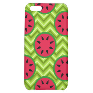 Bright Summer Picnic Watermelons on Green Chevron Case For iPhone 5C