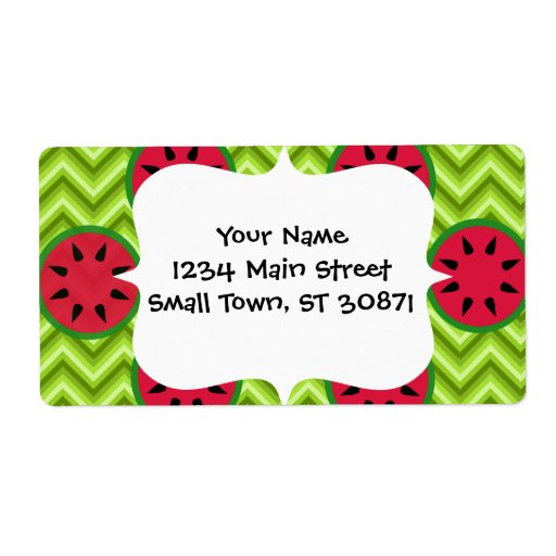 Bright Summer Picnic Watermelons on Green Chevron Personalized Shipping Label