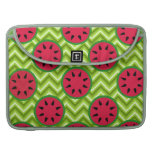 Bright Summer Picnic Watermelons on Green Chevron MacBook Pro Sleeves