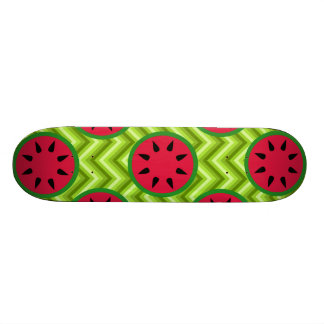 Bright Summer Picnic Watermelons on Green Chevron Skateboard Deck