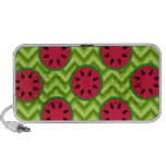 Bright Summer Picnic Watermelons on Green Chevron Mp3 Speakers