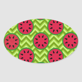 Bright Summer Picnic Watermelons on Green Chevron Oval Sticker