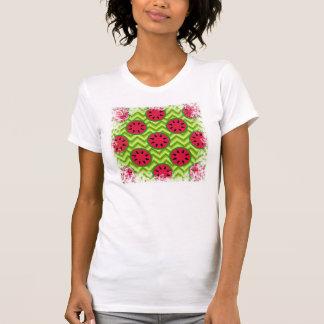 Bright Summer Picnic Watermelons on Green Chevron T-Shirt