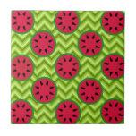 Bright Summer Picnic Watermelons on Green Chevron Ceramic Tile