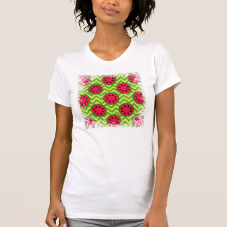 Bright Summer Picnic Watermelons on Green Chevron Shirt