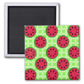Bright Summer Picnic Watermelons on Green Squares 2 Inch Square Magnet