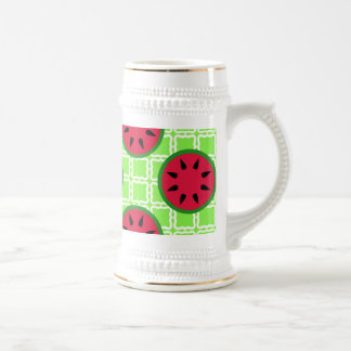 Bright Summer Picnic Watermelons on Green Squares Beer Stein