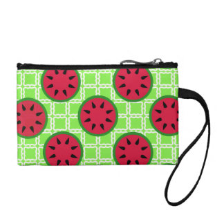 Bright Summer Picnic Watermelons on Green Squares Coin Purse