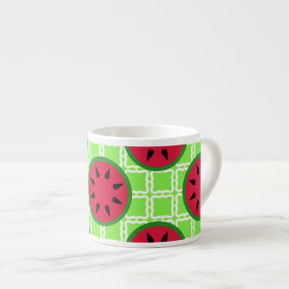 Bright Summer Picnic Watermelons on Green Squares Espresso Cup