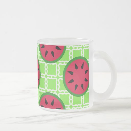Bright Summer Picnic Watermelons on Green Squares Frosted Glass Coffee Mug