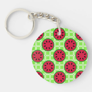 Bright Summer Picnic Watermelons on Green Squares Keychain