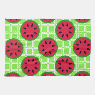 Bright Summer Picnic Watermelons on Green Squares Towel