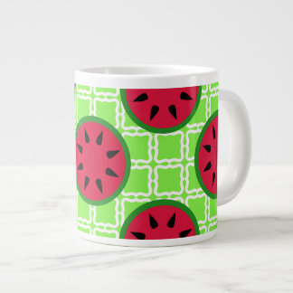 Bright Summer Picnic Watermelons on Green Squares Large Coffee Mug