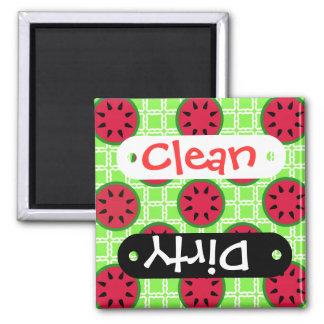 Bright Summer Picnic Watermelons on Green Squares Fridge Magnets